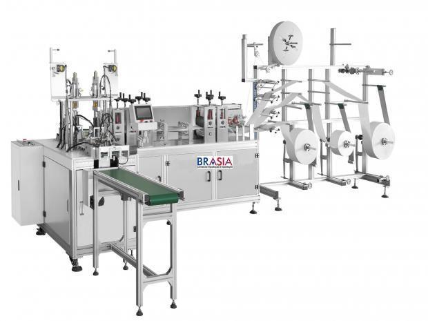 Máquina para Máscaras Cirúrgica de Tecidos Não Tecidos (TNT) com Aplicacão de Alças - Automática